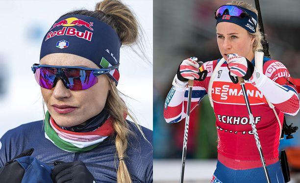Dorothea Wierer (vas.) ja Tiril Eckhoff ovat sanasodassa.