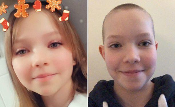 Espoolainen Janina tällä hetkellä (oik.) ja ennen hiusten leikkuuta (vas.).