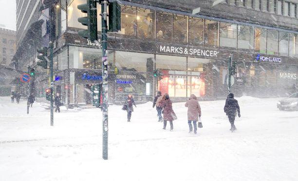 Lumikaaos iski Helsinkiin tammikuussa 2016.