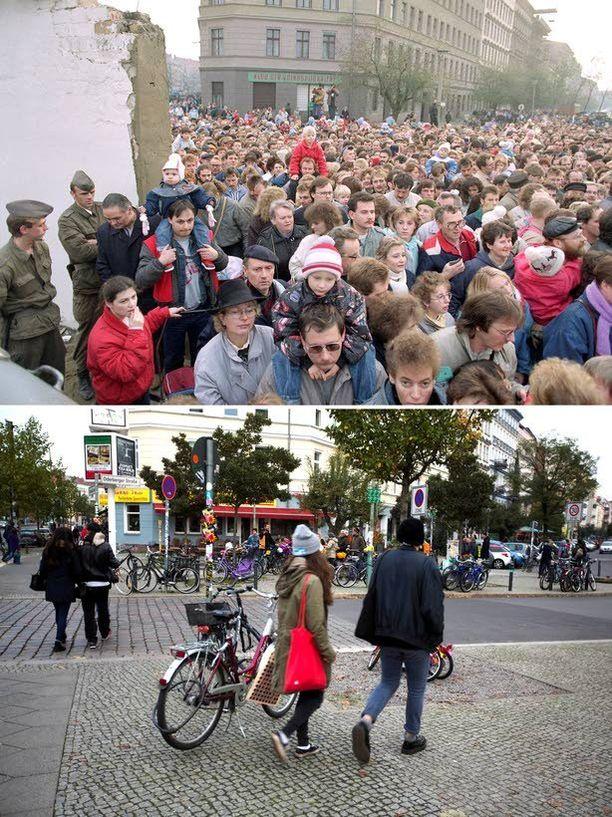 Itäberliiniläiset kokoontuivat jonottamaan uudelle ylityspaikalle, kun Itä-Saksan rajaviranomaiset repivät alas muurin osia marraskuun 11. päivä 1989.