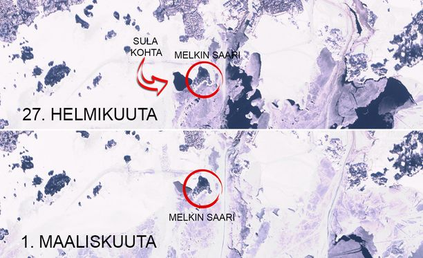 Satelliittikuvista näkyy, että Melkin saaren länsipuolella on ollut 27. helmikuuta avovettä.