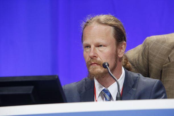Juho Eerola perussuomalaisten Turun puoluekokouksessa elokuussa 2015.