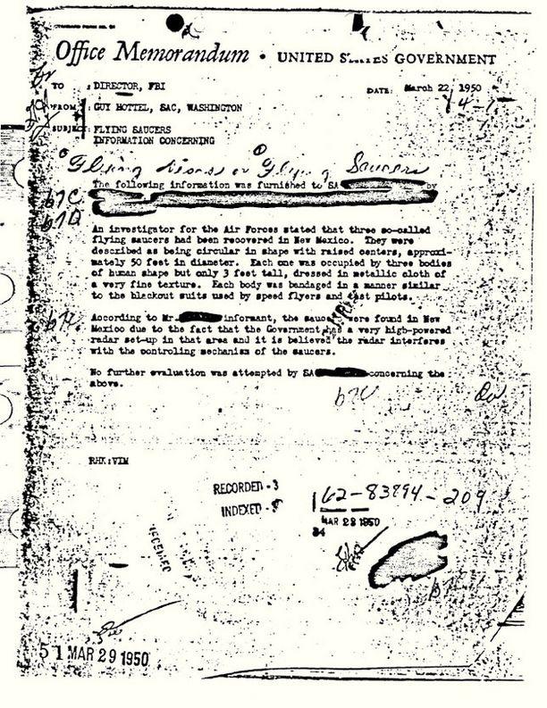 Kuvakaappaus FBI:n The Vault -nettipalvelussa julkaistusta muistiosta.