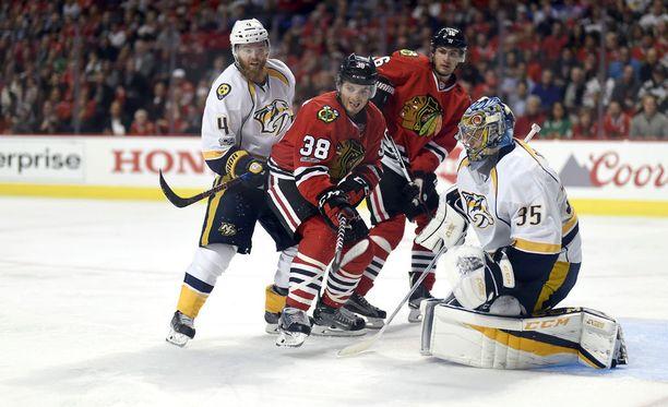 Nashville Predatorsin Pekka Rinne torjui jo toisen nollapelin peräkkäin NHL:n pudotuspeleissä. Predatorsin avauskierroksen vastustaja Chicago Blackhawks ei ole tehnyt vielä maaliakaan Rinnettä vastaan.