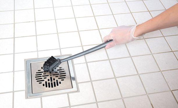 Lattiakaivon ritilä on kätevä nostaa paikoiltaan lattiakaivoharjan koukulla. Kapealla varrellisella harjalla lattiakaivon pesu on helppoa.