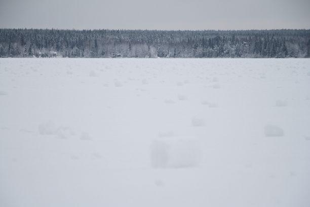 Tuuli pyöritti Paltamon Mieslahden selälle viime yön aikana tuhansia harvinaisia lumirullia.