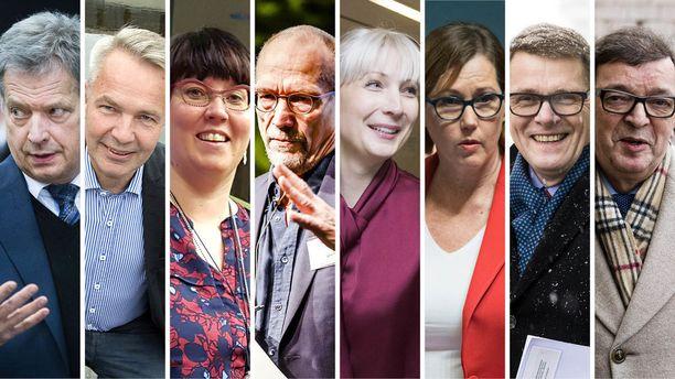 Sauli Niinistö, Pekka Haavisto, Merja Kyllönen, Nils Torvalds, Laura Huhtasaari, Tuula Haatainen, Matti Vanhanen ja Paavo Väyrynen olivat ehdolla vuoden 2018 presidentinvaaleissa.