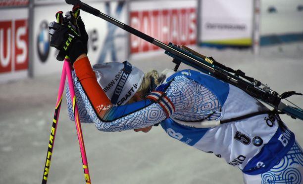 Kaisa Mäkäräinen oli kuudes Östersundissa perjantaina.