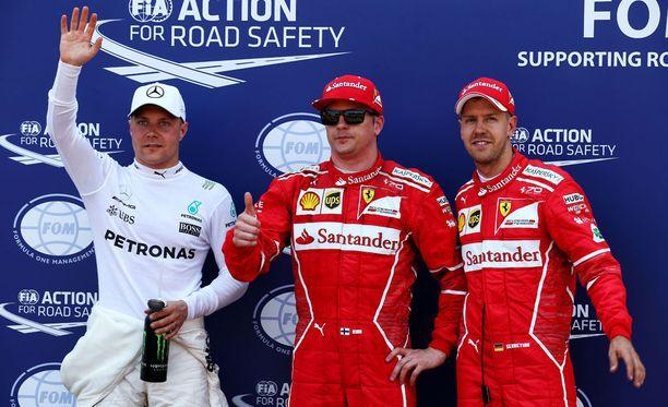 Kimi Räikkönen ei liiemmin innostunut paalupaikasta.