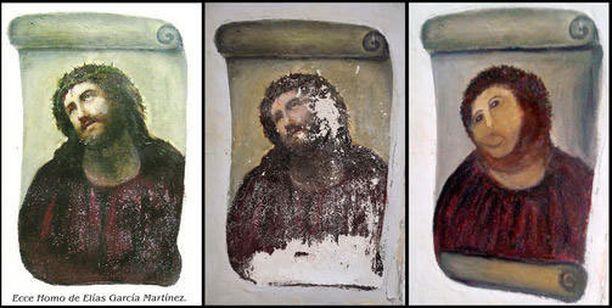 Seinämaalausta on verrattu taiteilija Elias Garcia Martinezin freskomaalaus Ecce Homon korjaukseen.