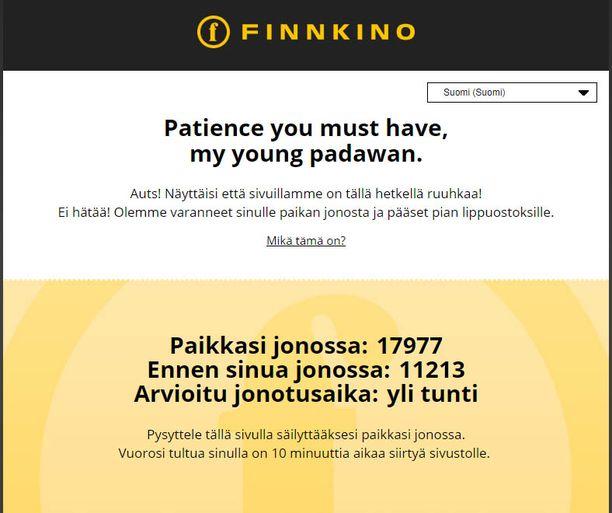 Tällainen näkymä avautui, kun Iltalehden toimittaja yritti päästä Finnkinon verkkosivuille.