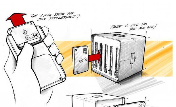 """PuzzlePhonen vanhat """"aivomoduulit"""" voi siirtää PuzzleClusteriin uuden tietokoneen osiksi."""