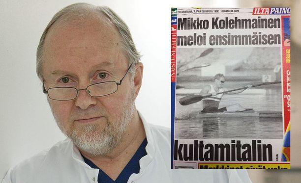 Sakari Orava operoi Mikko Kolehmaisen melontakullan takapiruna. Iltalehden iltapainos ilakoi 7. elokuuta 1992.
