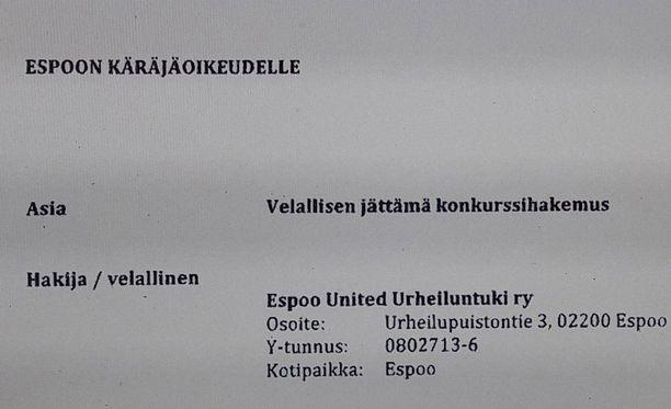 Espoo United Urheiluntuki ry jätti konkurssihakemuksen Espoon käräjäoikeuteen tänään perjantaina.