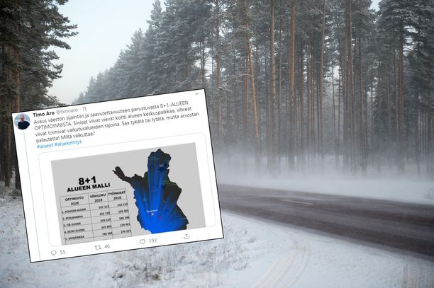 Tutkija Timo Aro esitteli sunnuntaina Twitterissä mallia, jossa Suomi on jaettuna kahdeksaan alueeseen ja Ahvenanmaahan.