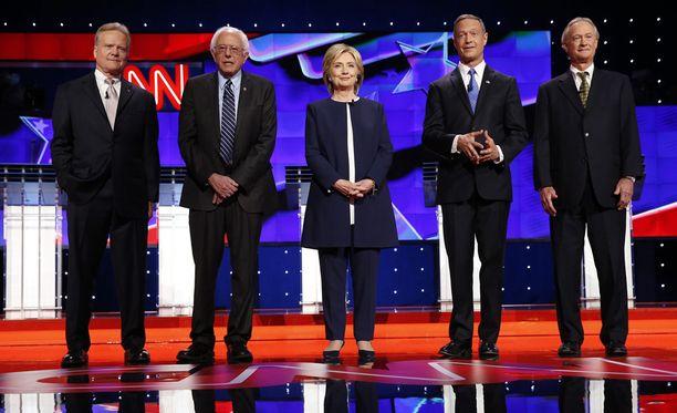 Jim Webb, Bernie Sanders, Hillary Clinton, Martin O'Malley ja Lincoln Chafee.