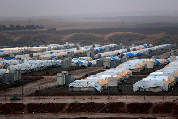 Telttoja kuvattuna eilen Hasanshamin leirillä Mosulin itäpuolella.