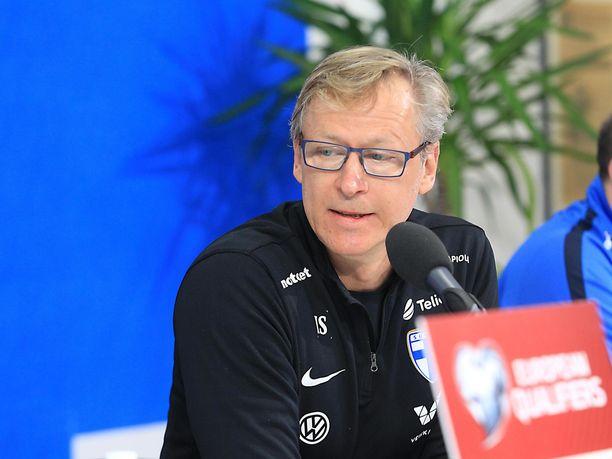 Huuhkajien päävalmentaja Markku Kanerva pohjusti tulevaa Liechtenstein-ottelua maanantaina.