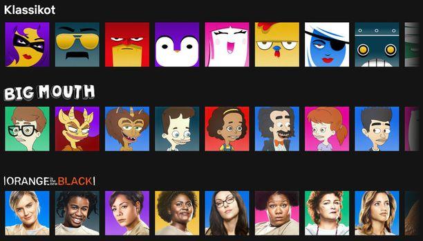 Netflixin käyttäjäkuvakkeita on tullut suuri määrä lisää.
