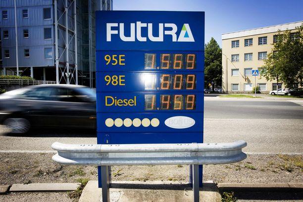 Bensiinin (95E10) keskihinta on  tällä hetkellä  noin 1,56 euroa litralta. Vertailun vuoksi: kuvassa on hintataulu vuodelta 2008!