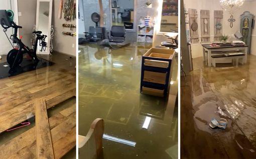 Talon lattia lainehti vedestä trooppisen myrskyn seurauksena Louisianassa – näky kuin painajaisesta