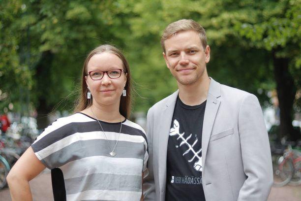 """Vihreiden nuorten puheenjohtajat Jaakko Mustakallio ja Saara Ilvessalo aloittivat kampanjan """"Huominen ilman pelkoa - järjestäytynyt rasismi rikoslakiin""""."""