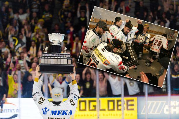 Kärpät juhli SM-liigan mestaruutta viime keväänä. HPK:n seurahistorian ainoa mestaruus on vuodelta 2006.