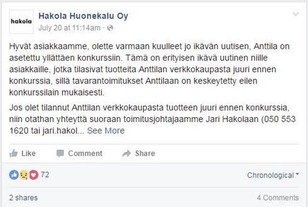 Kuvakaappaus tiedotteesta Hakola Huonekalujen facebook-sivulta.