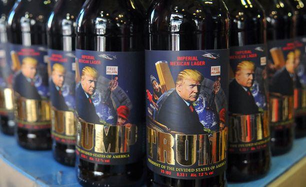 Kuvassa on ukrainalaista Trump-olutta.