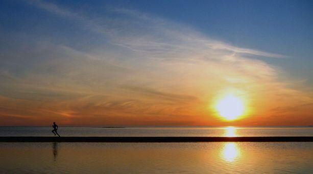 Aamulenkki Kalajoen hiekkasärkillä.
