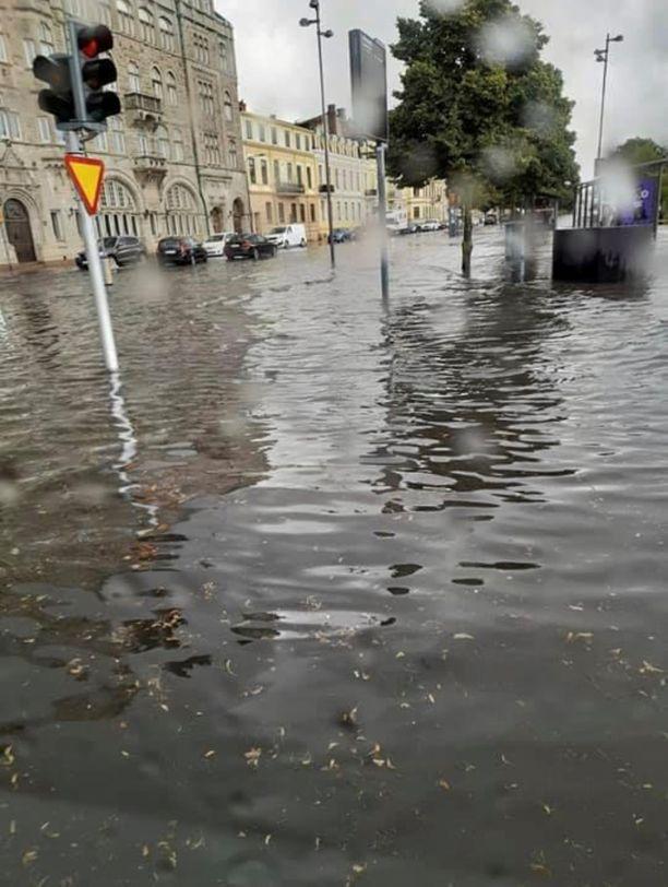 Kristianstadin keskusta oli täysin veden peitossa.
