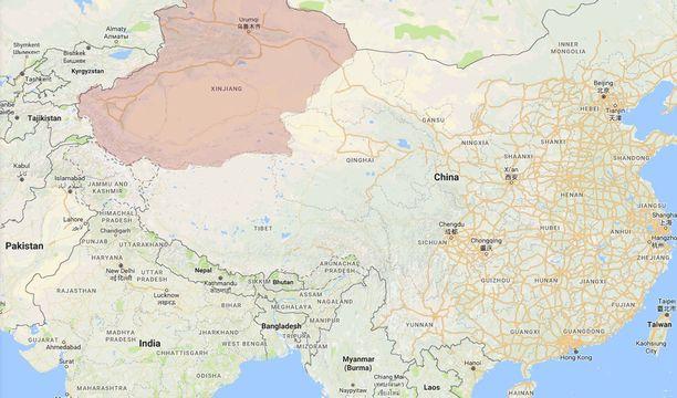 Sinkiang sijaitsee Luoteis-Kiinassa.