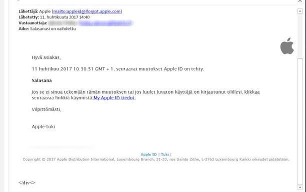 Muun muassa tällaisia sähköpostiviestejä huijauksessa lähetetään. Linkin jälkeen huijaussivustolla käyttäjältä pyydetään käyttäjätunnuksia ja luottokorttitietoja.