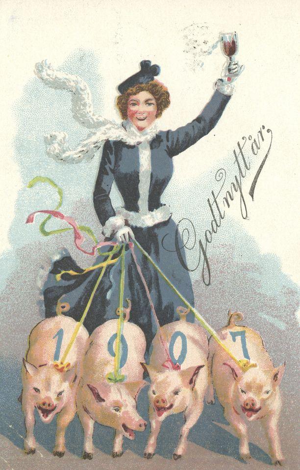 Uudenvuodenpostikortti Alkon myymälämuseon kokoelmasta.