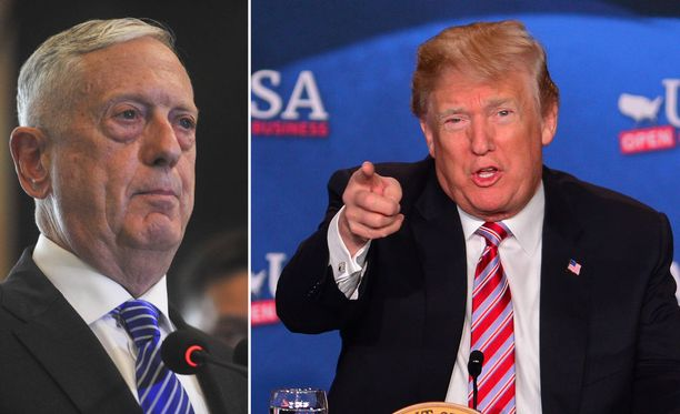 Yhdysvaltain puolustusministeri James Mattis (vasemmalla) kehotti presidentti Donald Trumpia kysymään Syyrian ilmaiskuille maan kongressilta hyväksynnän. Trump ei suostunut.