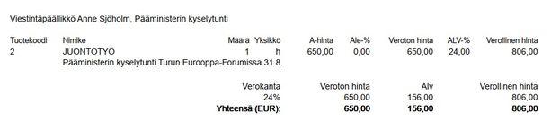Pääministeri Juha Sipilän (kesk) johtama valtioneuvoston kanslia maksoi Heikelille 806 euroa pääministerin kyselytunnista 31. elokuuta 2018.
