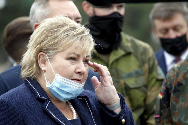 Norjan pääministeri Erna Solberg kuvattuna vierailullaan Liettuassa syyskuussa.