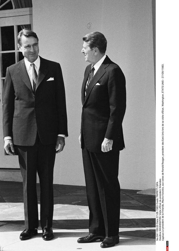 Presidentit Mauno Koivisto ja Ronald Reagan syyskuussa 1983.