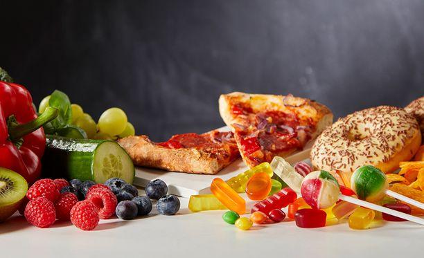 Pizzat ja irtokarkit päätyvät talvella helposti ostoskoriin.