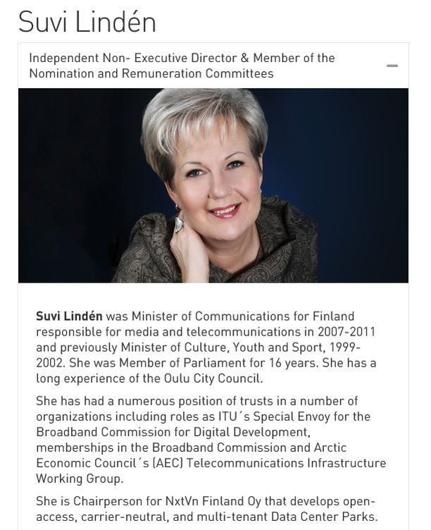 Suvi Lindénin esittely Telitin verkkosivuilla.