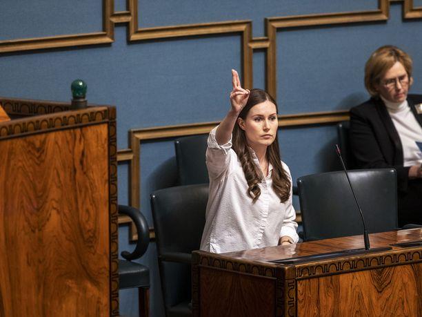 Hallitus sai Sanna Marinin johdolla vastattavakseen opposition kysymyksiä budjettiriihen tuloksista. Arkistokuva.
