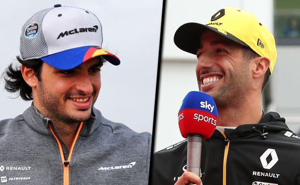 Daniel Ricciardo (oikealla) on nauratti jälleen F1-maailmaa GP-viikonloppuna. Carlos Sainz sai tylyn tällin kepeksilleen.