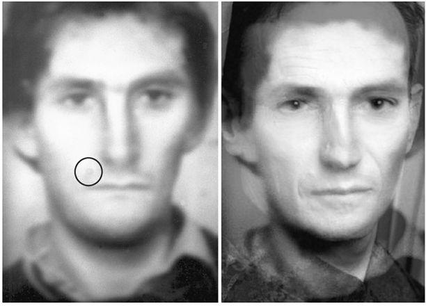 Vasemmalla poliisin luonnoskuva, jossa oikean suupielen yläpuolelle on merkitty syylä. Oikealla luonnoskuvasta ja murhapaikan lähellä olleen Jakob Thedelinin valokuvasta yhdistetty kuva.