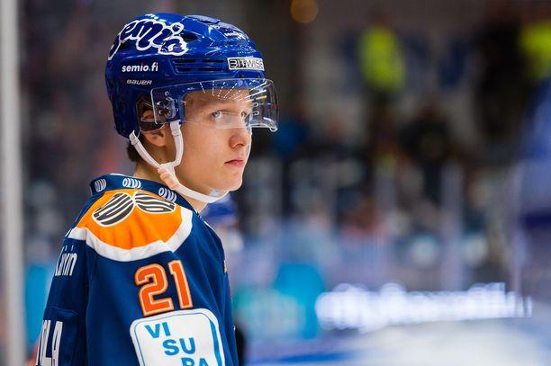 Hyökkääjä Patrik Puistola sai uransa ensimmäisen tehopisteen SM-liigassa.