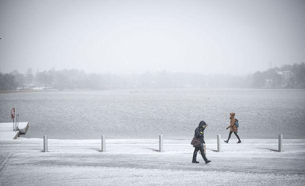 Lumipyry kiusasi kansaa Helsingissäkin.