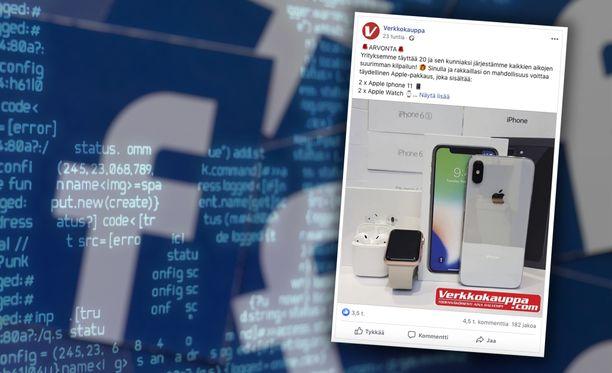 Facebookissa yritetään saada ihmiset osallistumaan tekaistuun arvontaan.