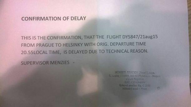 Iltalehteen yhteyttä ottanut Sasu sai Norwegianilta vahvistuksen, että lento on myöhässä teknisistä syistä johtuen.