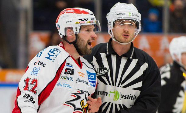 Markus Kankaanperä sai ulosajon Ilves-ottelussa.