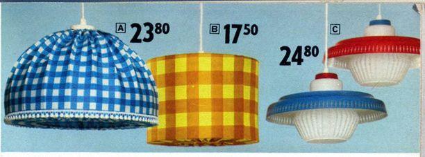 Postimyynnin kautta myytiin runsaasti kodin sisustustarvikkeita kuten valaisimia. Kuvan varjostimet vuosimallia 1969.