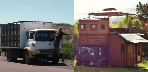 Vasemmalla kuorma-auto ennen muutoksia, oikealla valmis koti.
